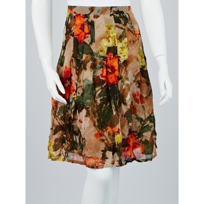 Burberry London Multicolor Floral Silk Skirt Size 12