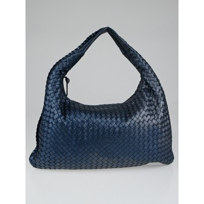 Bottega Veneta Baltic Intrecciato Woven Metallic Nappa Leather Large Veneta Hobo Bag