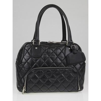 Chanel Black Quilted Distressed Lambskin Leather Small Shoe Luggage Tote Bag (Paris New York PNY)