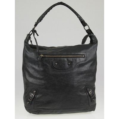 Balenciaga Black Lambskin Leather Day Bag