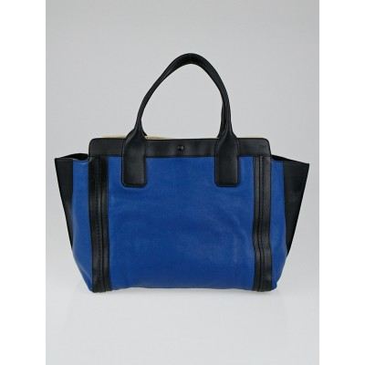 Chloe Caribbean Blue / Black Leather Small East/West Tote Bag