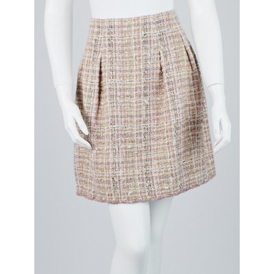 Chanel Beige Mohair Blend Tweed A-Line Skirt Size 8/40