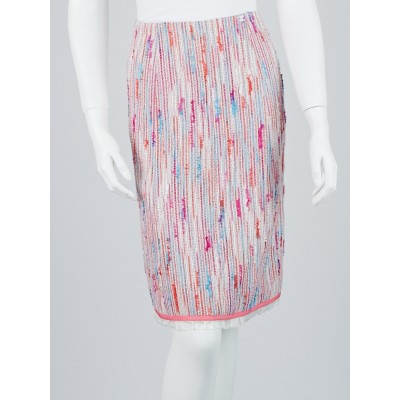 Chanel Pink Multicolor Tweed CC Skirt Size 8/40