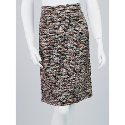 Chanel Grey Multicolor Tweed Skirt Size 10/42