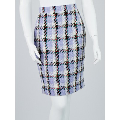 Chanel Blue Multicolore Plaid Wool Skirt Size 6/38