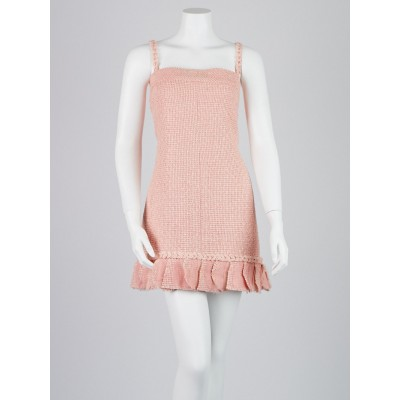 Chanel Pink Silk Tweed Sleeveless Dress 10/42