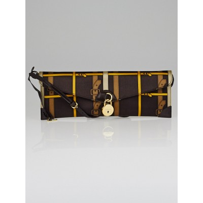 Burberry Brown Belt Print Satin Clutch Bag