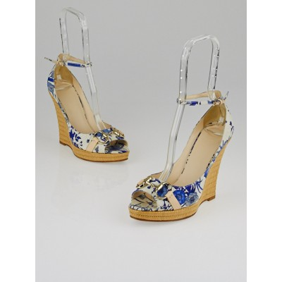 Gucci Indigo Floral Canvas Horsebit Peep Toe Wedges Size 7.5