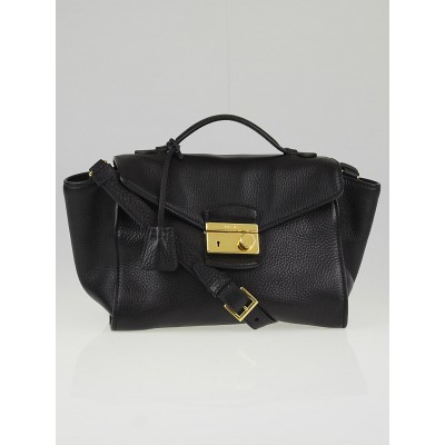 Prada Black Vitello Daino Leather Flap Bag BT0962
