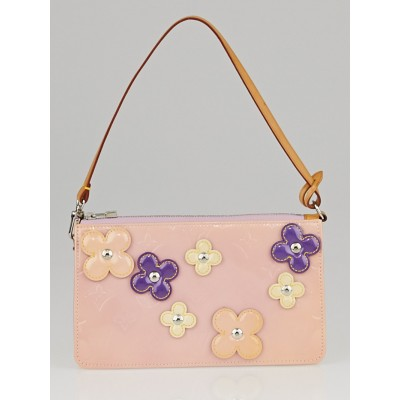 Louis Vuitton Limited Edition Baby Pink Monogram Vernis Lexington Fleurs Accessories Pochette Bag