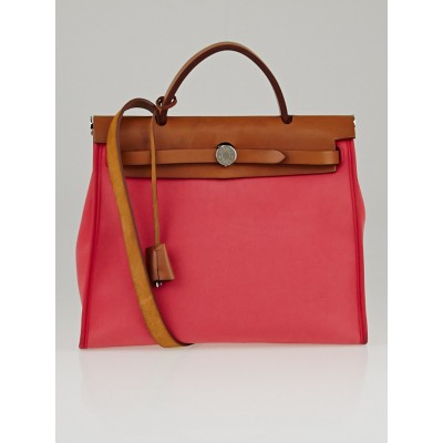 Hermes Red Canvas and Natural Calfskin Leather Herbag Zip PM Bag