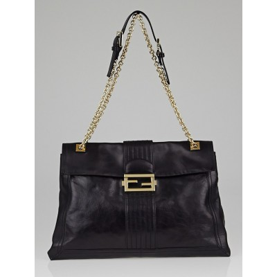 Fendi Black Leather Maxi Baguette Flap Bag