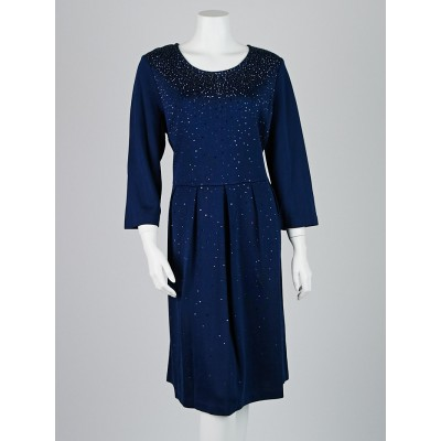 St. John Boutiques Navy Blue Studded Rayon Long Sleeve Dress Size 14