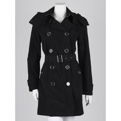 Burberry Brit Black Taffeta Mid-Length Hooded Rain Trench Coat Size 6