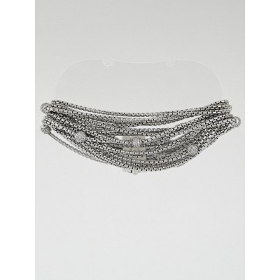 David Yurman Sterling Silver and Diamond Eight Row Chain Bracelet