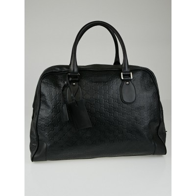 Gucci Black Guccissima Leather Weekender Tote Bag