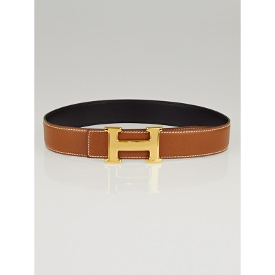 Hermes 32mm Gold Courchevel/Black Box Leather Gold Plated Constance H Belt Size 60