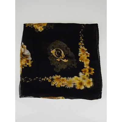 Alexander McQueen Black Silk Chiffon Skull and Flower Scarf