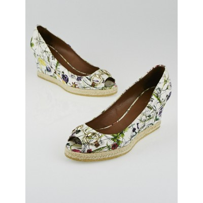 Gucci White Infinity Flora Canvas Horsebit Wedges Size 7.5/38