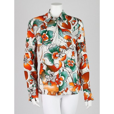 Escada Orange Floral Silk Blouse Size 12