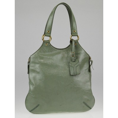 Yves Saint Laurent Sage Crinkled Patent Leather Small Tribute Bag