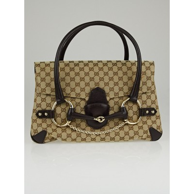 Gucci Beige/Ebony GG Canvas Horsebit Large Satchel Bag