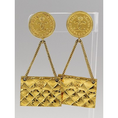 "Chanel Goldtone Vintage ""31 Rue Cambon"" Flap Bag Clip-On Earrings"