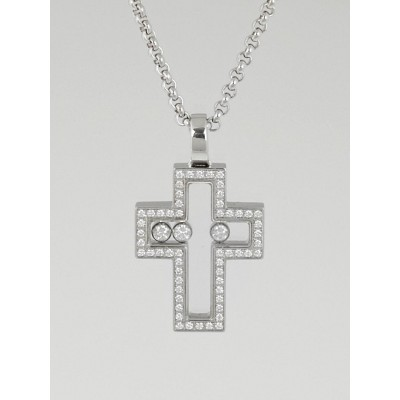 Chopard 18k White Gold 'Happy Diamonds' Floating Diamond Cross Pendant