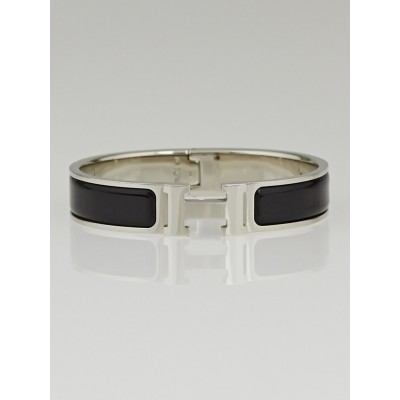 Hermes Black Enamel Palladium Plated Clic H PM Narrow Bracelet