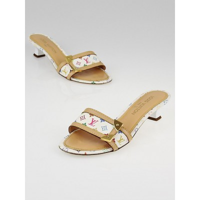 Louis Vuitton White Monogram Multicolore Canvas Slides Size 6.5/37
