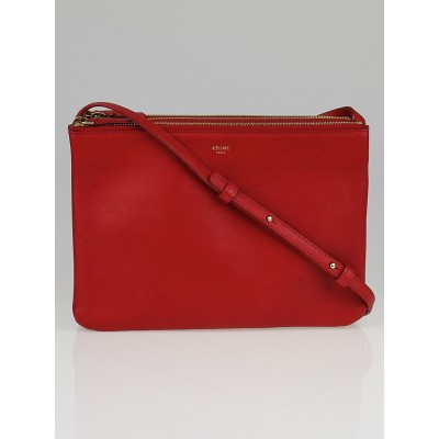 Celine Red Lambskin Leather Large Trio Crossbody Bag