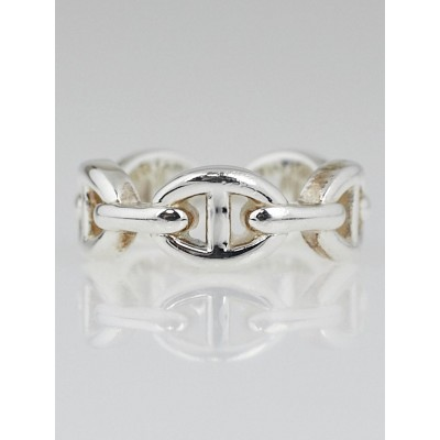 Hermes Sterling Silver Chaine d'Ancre Enchainee Ring Size 5.5 / 50