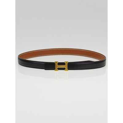 Hermes 18mm Black Box / Gold Courchevel Leather Gold Plated Constance H Belt Size 65