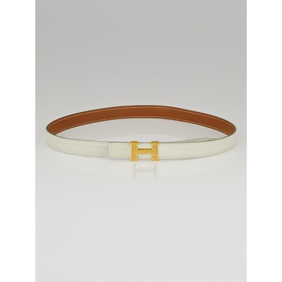 Hermes 18mm White Swift / Gold Courchevel Leather Gold Plated Constance H Belt Size 70