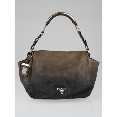 Prada Ardesia/Talco Ombre Glace Leather Flap Shoulder Bag