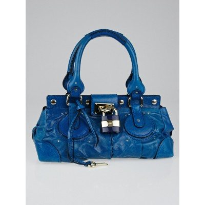 Chloe Blue Leather Plexo Paddington Medium Satchel Bag