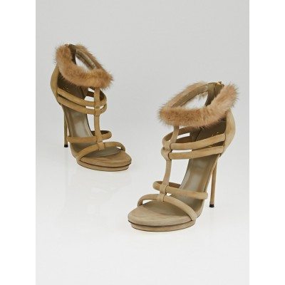 Gucci Grey Suede and Mink Camila T-Strap Sandals Size 7.5/38