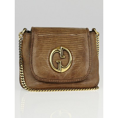 Gucci Brown Lizard 1973 Chain Small Shoulder Bag