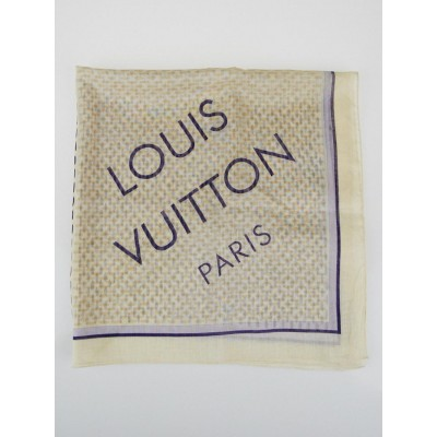 Louis Vuitton Damier Azur Cotton Square Bandana Scarf