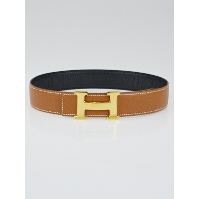 Hermes 32mm Gold Courchevel / Black Chevre Leather Gold Plated Constance H Belt Size 65