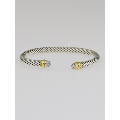 David Yurman 5mm Sterling Silver and Diamond Cable Bracelet