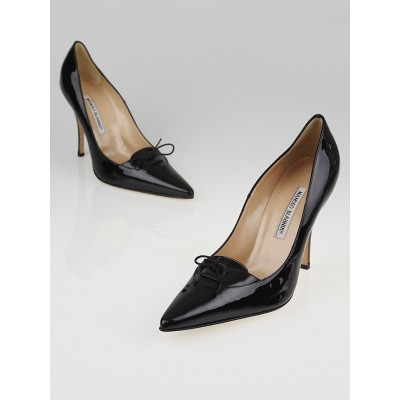 Manolo Blahnik Black Patent Leather Kirby  Pumps Size 10/40.5