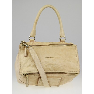 Givenchy Beige Wrinkled Sheepskin Leather Large Pandora Bag