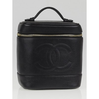Chanel Black Caviar Leather CC Vertical Cosmetic Case Bag
