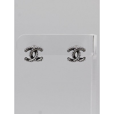 Chanel Ruthenium and Faux Pearl CC Stud Earrings