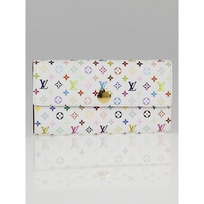 Louis Vuitton White Monogram Multicolore Figue Sarah Wallet