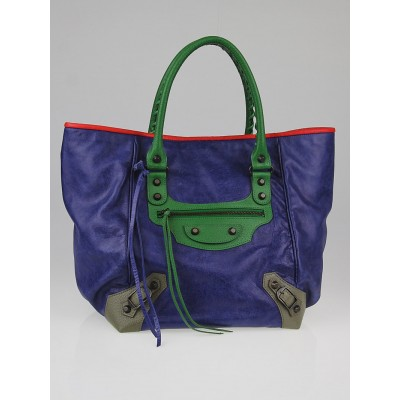Balenciaga Tri-Color Lambskin Leather Sunday S Tote Bag
