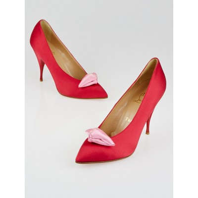 Christian Louboutin Red Crepe Satin Lola Noeud 100 Pumps Size 10/40.5