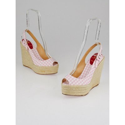Christian Louboutin Pink Gingham Canvas Menorca 130 Espadrille Wedges Size 9.5/40