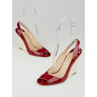 Christian Louboutin Bordeaux Patent Leather Marpoil Sanzep Wedges 10.5/41